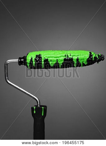 Paint Roller Black Corn With Pouring Green Toxic Paint On Gray Background. Fashion Food Concept.crea