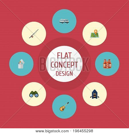 Flat Icons Music, Fishing, Lifesaver And Other Vector Elements