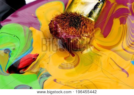 Artists Brushes And Oil Paints On Wooden Palette. Macro Artist's Palette, Texture Mixed Oil Paints I