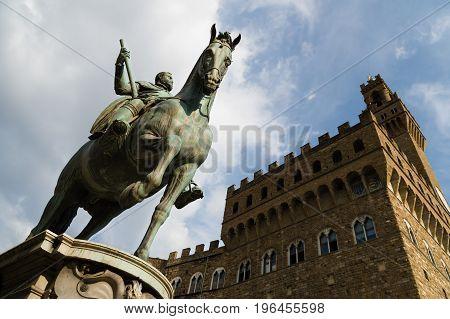 Equestrian Statue Of Cosimo I Medici At Piazza Della Signoria