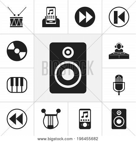 Set Of 12 Editable Music Icons. Includes Symbols Such As Next, Backward, Previous And More