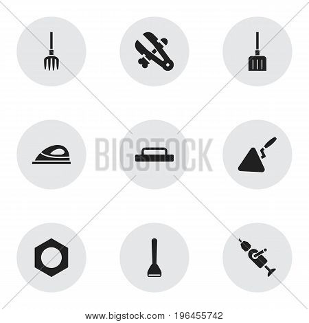 Set Of 9 Editable Instrument Icons. Includes Symbols Such As Internal Screw, Trowel, Potato Peeler And More