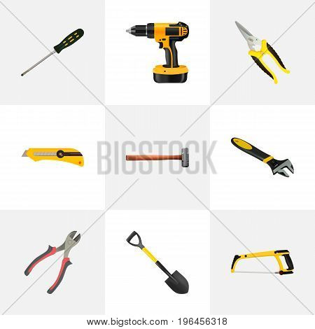Realistic Carpenter, Scissors, Arm-Saw And Other Vector Elements