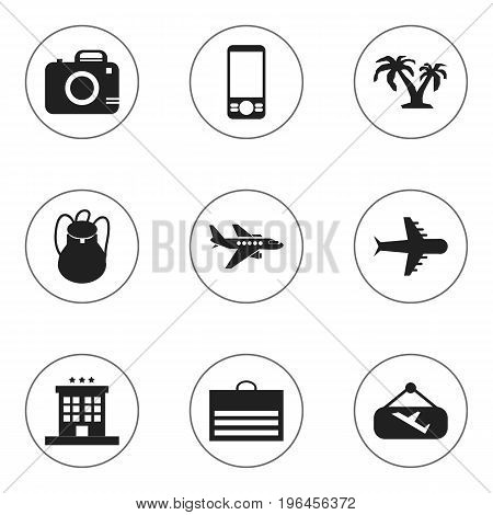 Set Of 9 Editable Trip Icons. Includes Symbols Such As Luxury Inn, Rucksack, Photo Cam And More