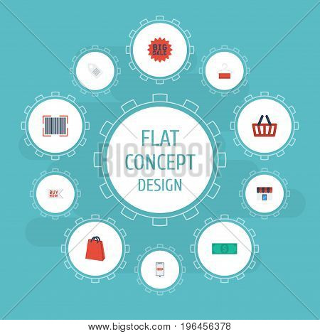 Flat Icons Shop , Dress Stand , Qr Vector Elements