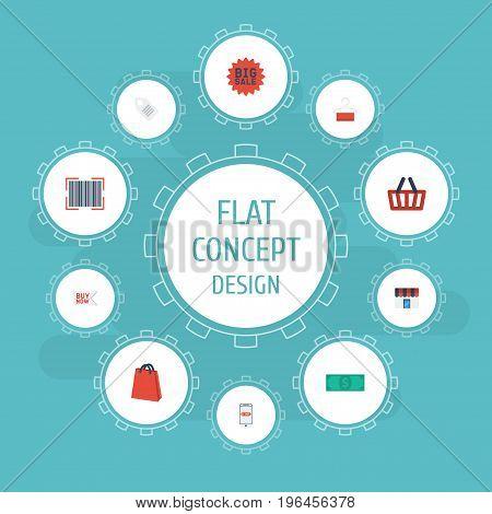 Flat Icons Shop , Dress Stand , Qr Vector Elements