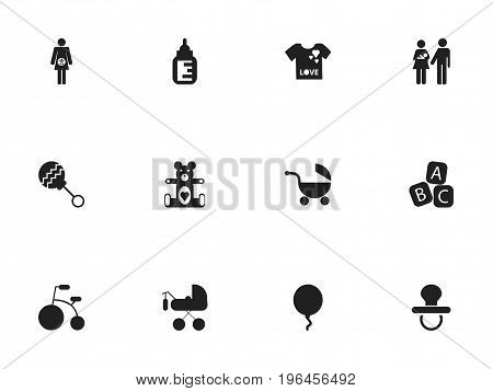 Set Of 12 Editable Baby Icons. Includes Symbols Such As Lineage, Pacifier, Stroller And More