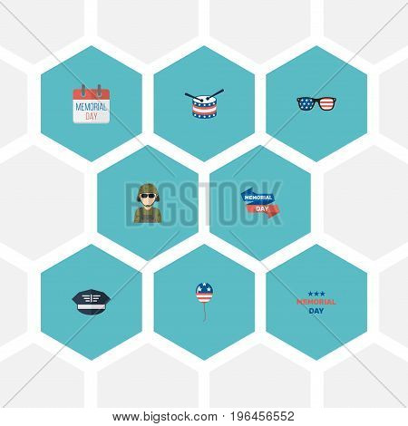 Flat Icons Musical Instrument, Military Man, Decoration And Other Vector Elements