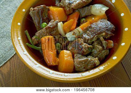 Crock pot Beef Stew.Canadian cuisine. close up meal