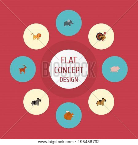 Flat Icons Trunked Animal, Gobbler, Moose And Other Vector Elements