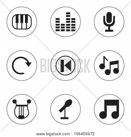 Set Of 9 Editable Sound Icons. Includes Symbols Such As Refresh, Musical Symbol, Journalism Equipment And More