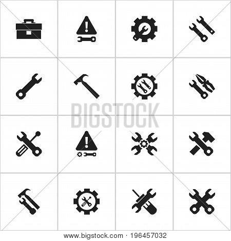 Set Of 16 Editable Repair Icons. Includes Symbols Such As Wrench Repair, Caution, Portfolio And More