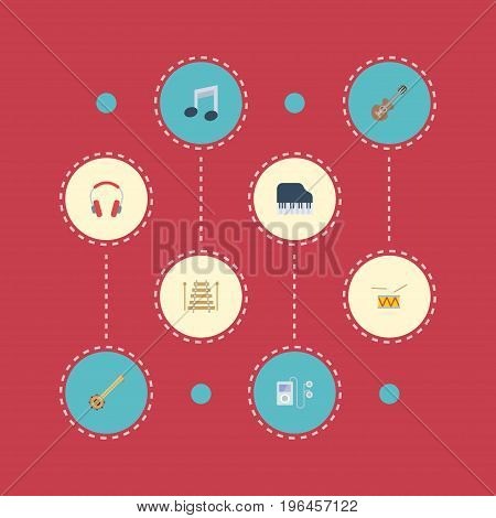 Flat Icons Tambourine, Earphone, Banjo And Other Vector Elements