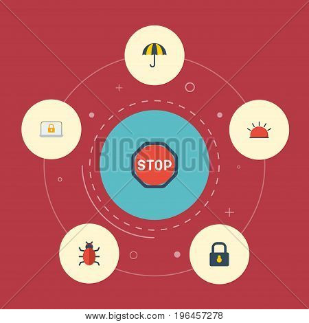 Flat Icons Padlock, Siren, Lock And Other Vector Elements