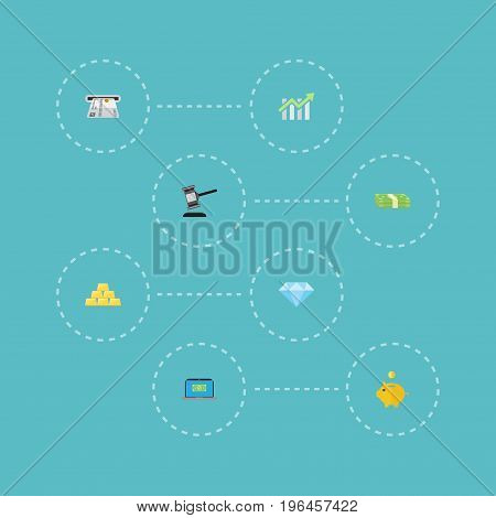 Flat Icons Teller Machine, Bar Diagram, Verdict And Other Vector Elements