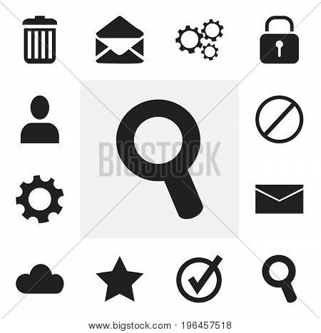Set Of 12 Editable Web Icons. Includes Symbols Such As Bookmark, Profile, Gear And More