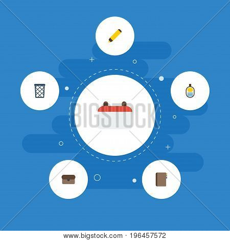 Flat Icons Trash Basket, Contact, Identification And Other Vector Elements