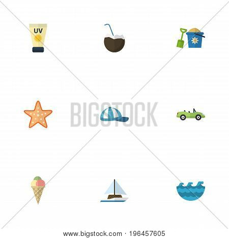 Flat Icons Sailboard, Shovel, Sorbet And Other Vector Elements