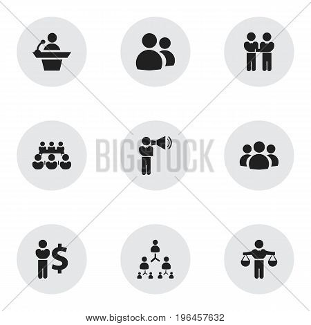 Set Of 9 Editable Cooperation Icons. Includes Symbols Such As Unity, Talking Man, Finding Solution And More