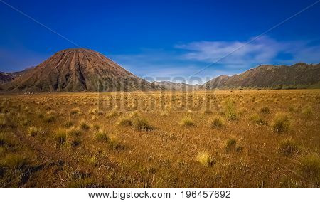 Spectacular landscape of Gunung Bromo and Sumeru volcanoes in Java, Indonesia