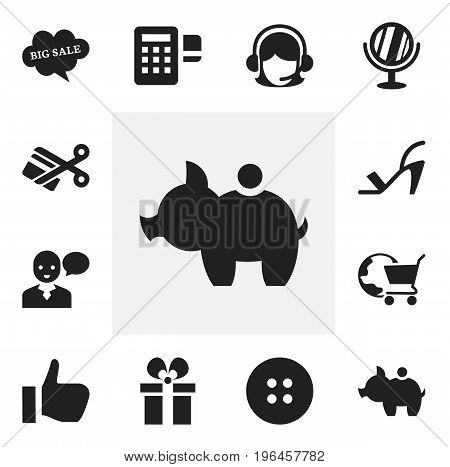 Set Of 12 Editable Trade Icons. Includes Symbols Such As Looking-Glass, Sewing, International Trade And More