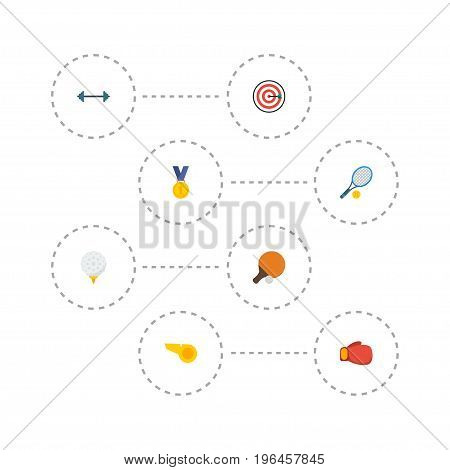 Flat Icons Reward, Golf, Table Tennis And Other Vector Elements