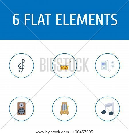 Flat Icons Tone Symbol, Rhythm Motion, Tambourine And Other Vector Elements