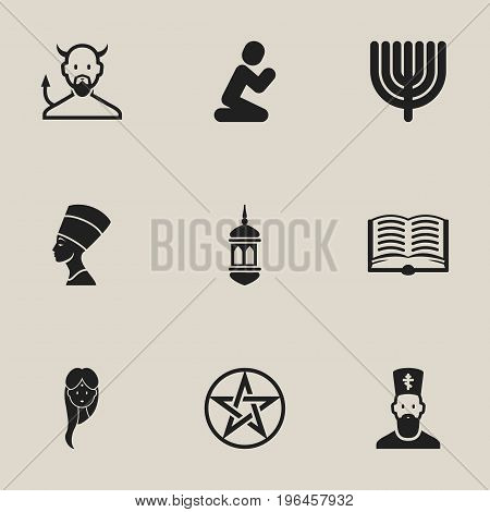 Set Of 9 Editable Religion Icons. Includes Symbols Such As Orison, Minaret, Pentagram And More