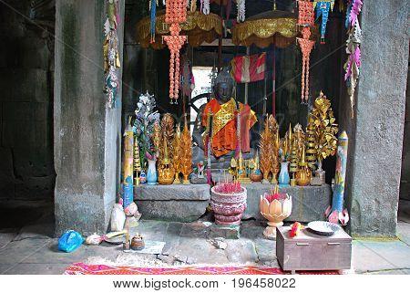 Offerings to Buddha. Buddhism in Ankor Watt, Cambodia