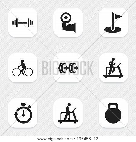 Set Of 9 Editable Active Icons. Includes Symbols Such As Barbell, Crossbar, Executing Running And More