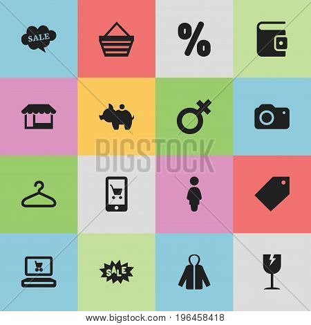 Set Of 16 Editable Business Icons. Includes Symbols Such As Cracked Mug, Billfold, Photographing And More