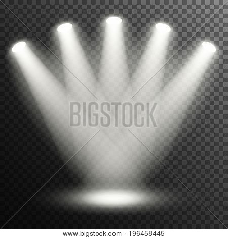 Floodlights illuminate the scene. Transparent background. Vector.