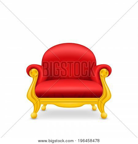 Royal armchair of gold. Red throne, isolated.