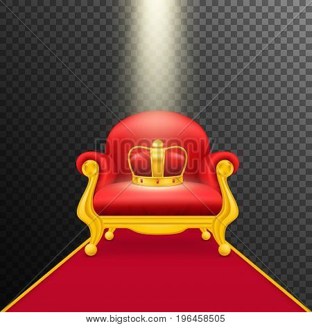 Falling rays illuminate royal red armchair with gold crown.