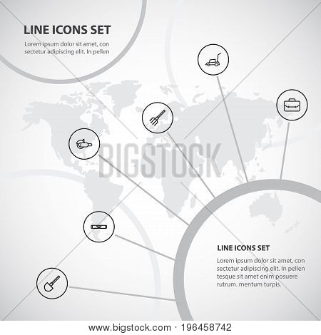 Set Of 6 Editable Equipment Outline Icons. Includes Symbols Such As Shovel, Grinder, Pitchfork And More