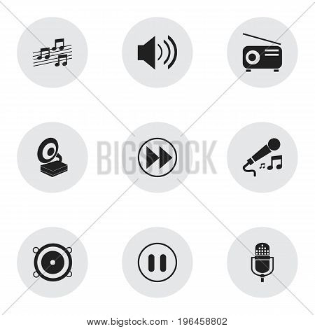 Set Of 9 Editable Mp3 Icons. Includes Symbols Such As Musical Sign, Sound, Phonograph And More