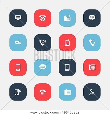 Set Of 16 Editable Phone Icons. Includes Symbols Such As Retro Telecommunication, Forum, Transceiver And More