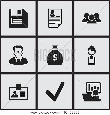 Set Of 9 Editable Bureau Icons. Includes Symbols Such As Professor, Group, Document And More
