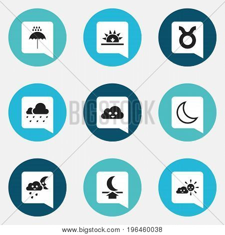 Set Of 9 Editable Weather Icons. Includes Symbols Such As Happy Overcast, Hail, Sunset And More