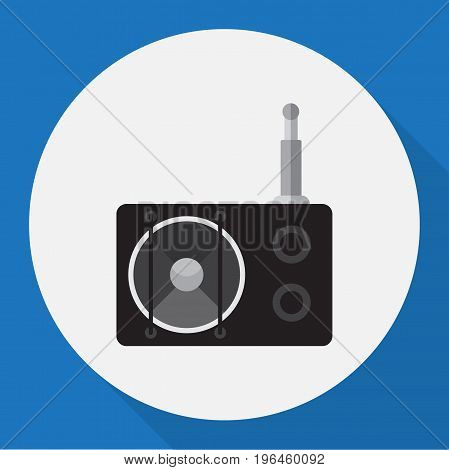 Vector Illustration Of Tech Symbol On Radio Flat Icon