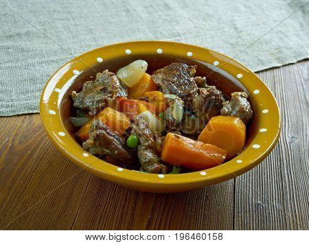 Crock pot Beef Stew. Canadian cuisine close up meal