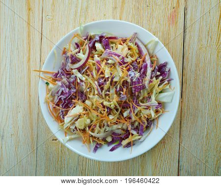 Hardcore coleslaw with Garlic Dressing . close up meal