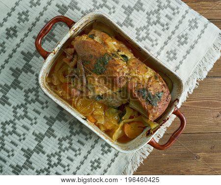 Pjachisto - Stewed pork ham. Slavic cuisine