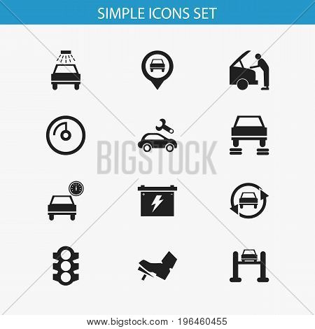 Set Of 12 Editable Car Icons. Includes Symbols Such As Tuning Auto, Transport Clean, Pinpoint And More