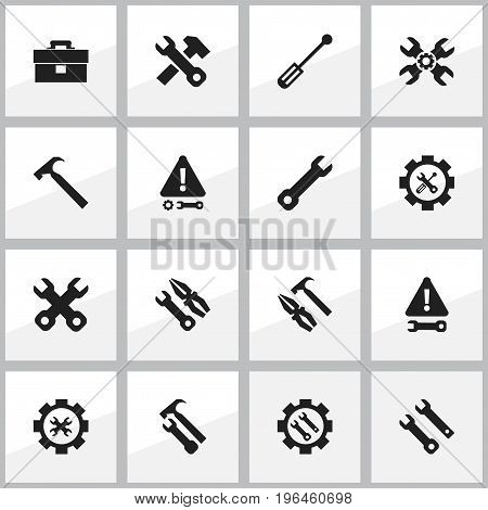 Set Of 16 Editable Mechanic Icons. Includes Symbols Such As Pliers Hammer, Handle Hit, Instrument