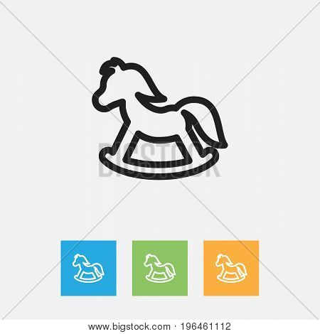 Vector Illustration Of Kin Symbol On Toy Horse Outline