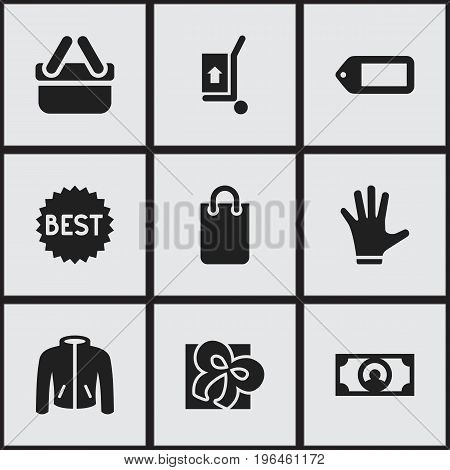 Set Of 9 Editable Trade Icons. Includes Symbols Such As Shopping Case, Fingers, Label And More
