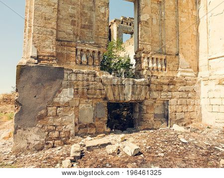 Mystical Interior, Ruins Of Facade Of An Abandoned Ruined Building Of An Ancient Castle 18Th Century