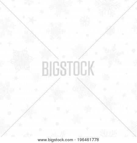 Christmas seamless pattern of big and small snowflakes gray on white