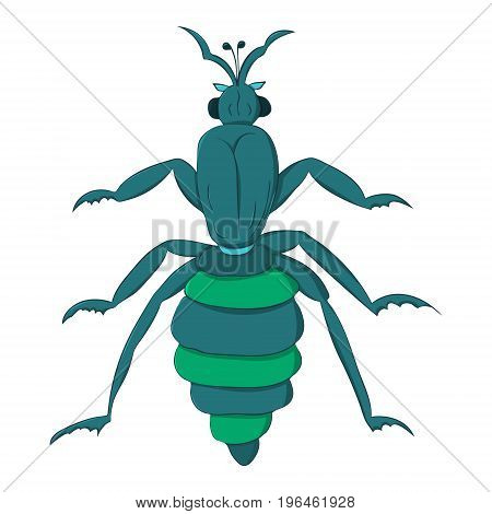 blue striped beetle with long paws and a rattle. Vector illustration. Drawing by hand